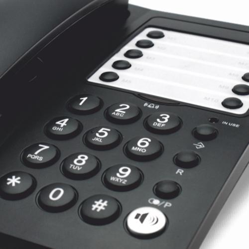Teléfono con 10 memorias y manos libres Office