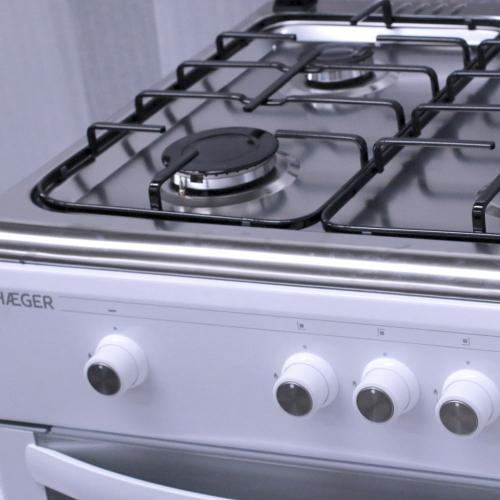 Cocina de gas 60x60 Blanco e Inox